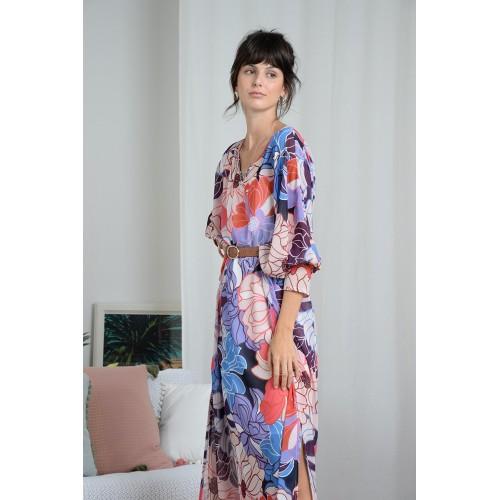 Robe tunique longue en voile rose MOLLY BRACKEN