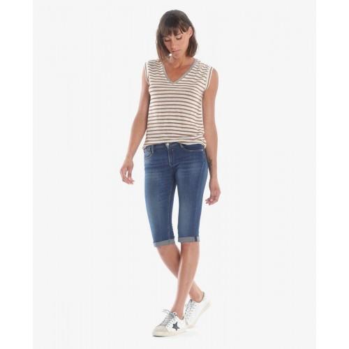 Corsaire en jean bleu Mandy LE TEMPS DES CERISES