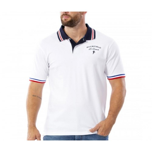 Polo hommes French rugby blanc RUCKFIELD