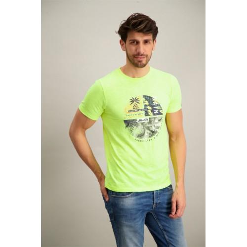 Tee-shirt hommes manches courtes , jaune fluo J & JOY