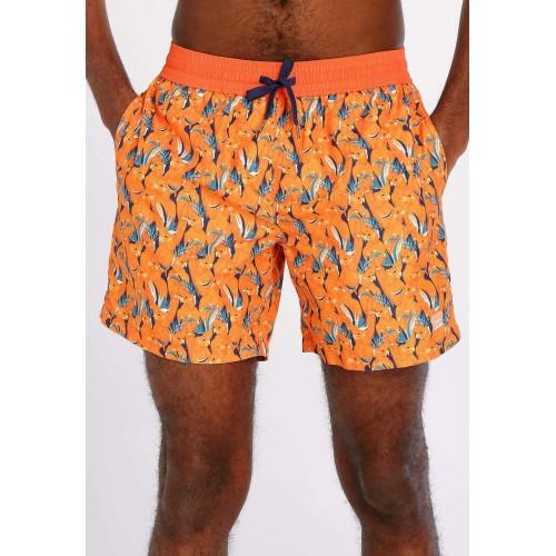 Maillot de bain hommes ,orange imprimé bleu J & JOY