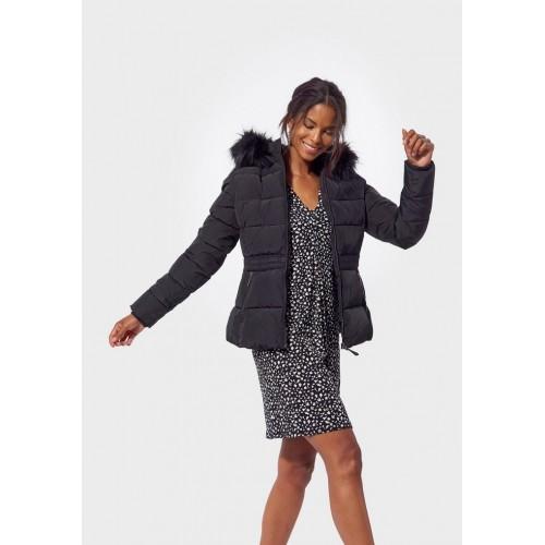 Doudoune femme noir capuche fourrure noir KAPORAL